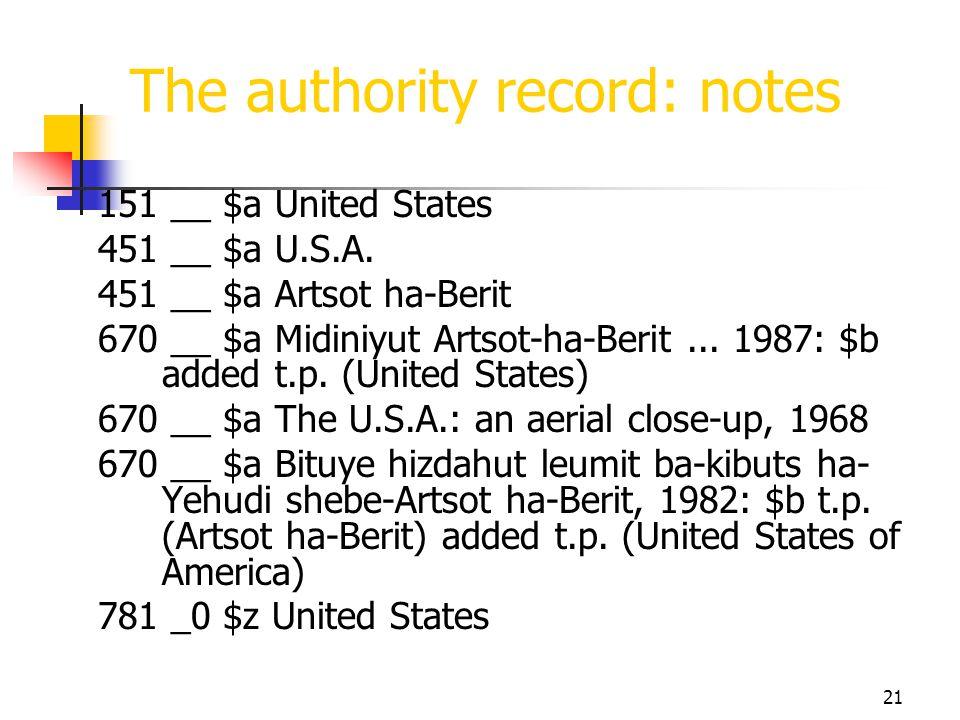 21 The authority record: notes 151 __ $a United States 451 __ $a U.S.A. 451 __ $a Artsot ha-Berit 670 __ $a Midiniyut Artsot-ha-Berit... 1987: $b adde