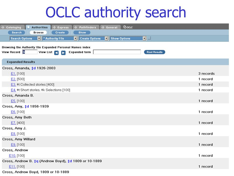 78 OCLC authority search