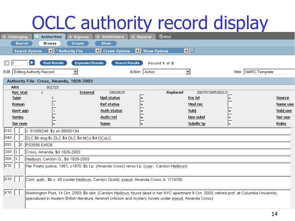 14 OCLC authority record display