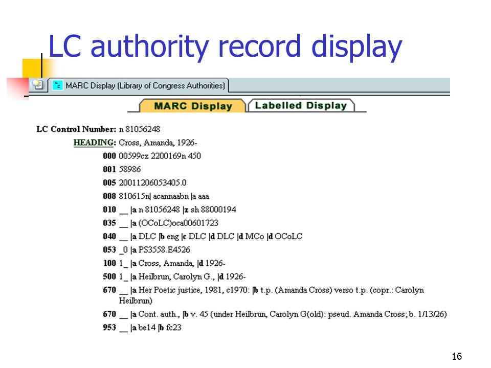 16 LC authority record display