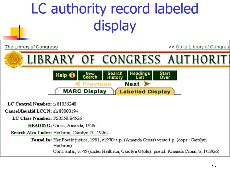 17 LC authority record labeled display