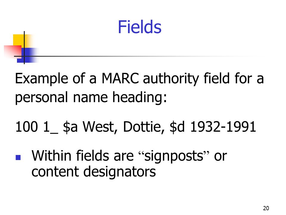 20 Fields Example of a MARC authority field for a personal name heading: 100 1_ $a West, Dottie, $d 1932-1991 Within fields are signposts or content d
