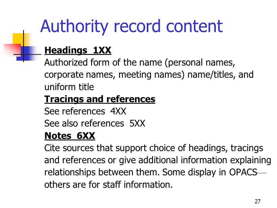 27 Authority record content Headings 1XX Authorized form of the name (personal names, corporate names, meeting names) name/titles, and uniform title T