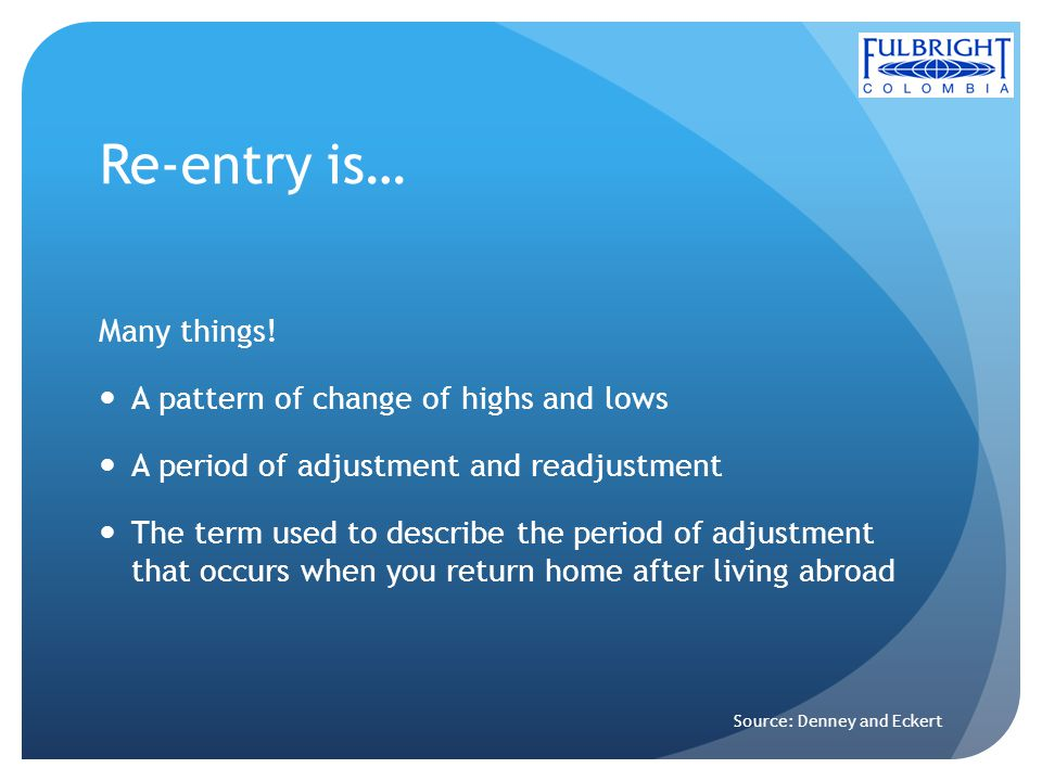 Re-entry is… Many things! A pattern of change of highs and lows A period of adjustment and readjustment The term used to describe the period of adjust