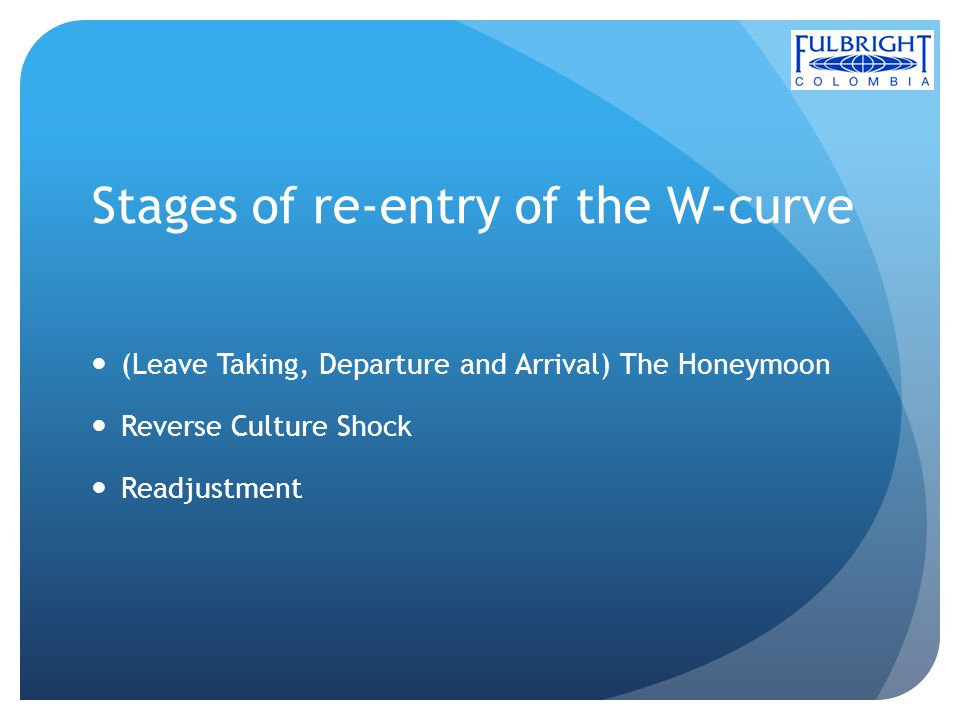 Stages of re-entry of the W-curve (Leave Taking, Departure and Arrival) The Honeymoon Reverse Culture Shock Readjustment