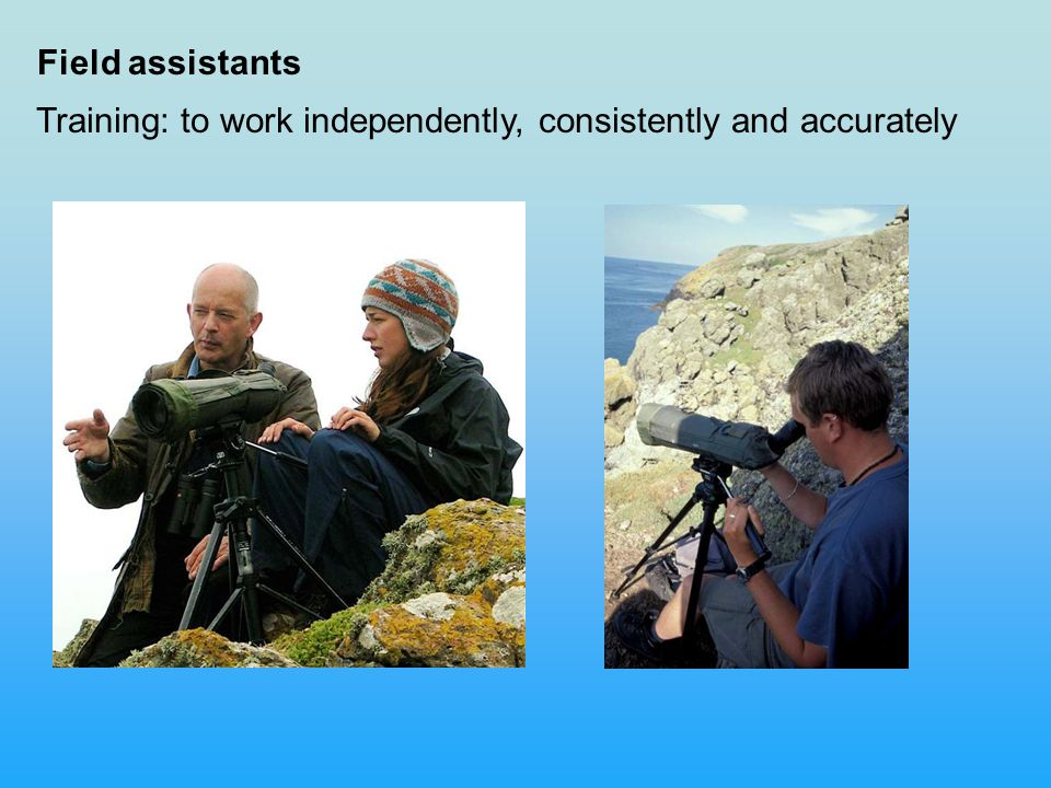 Field assistants Training: to work independently, consistently and accurately