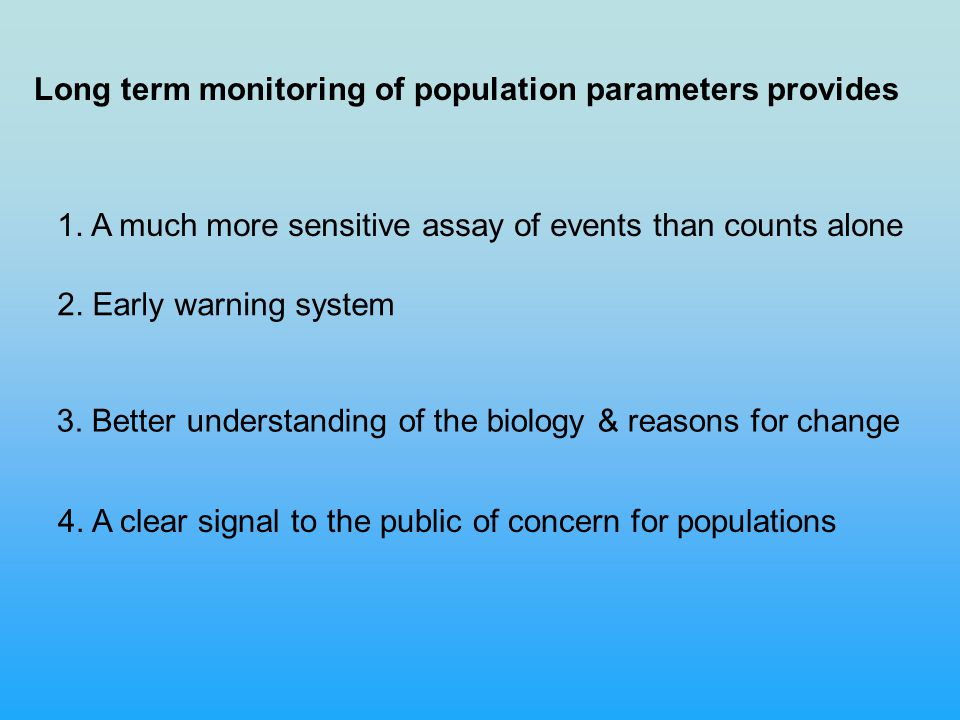 Long term monitoring of population parameters provides 2.