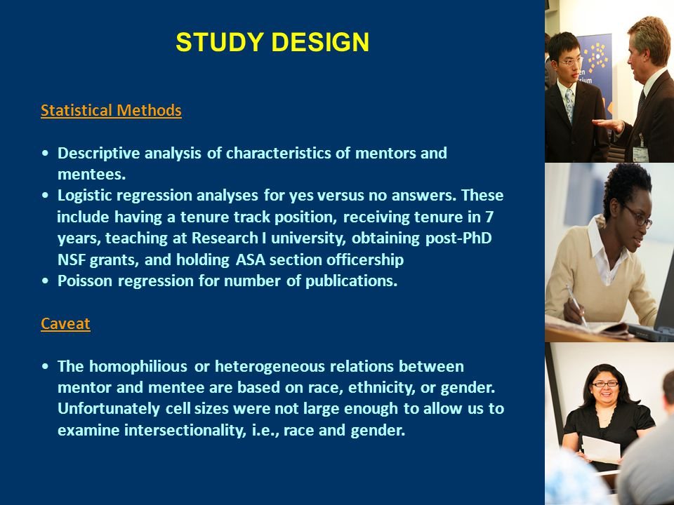 Statistical Methods Descriptive analysis of characteristics of mentors and mentees.