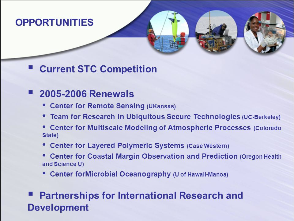 Current STC Competition 2005-2006 Renewals Center for Remote Sensing (UKansas) Team for Research In Ubiquitous Secure Technologies (UC-Berkeley) Center for Multiscale Modeling of Atmospheric Processes (Colorado State) Center for Layered Polymeric Systems (Case Western) Center for Coastal Margin Observation and Prediction (Oregon Health and Science U) Center forMicrobial Oceanography (U of Hawaii-Manoa) Partnerships for International Research and Development OPPORTUNITIES