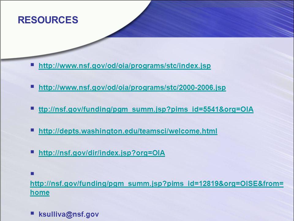 http://www.nsf.gov/od/oia/programs/stc/index.jsp http://www.nsf.gov/od/oia/programs/stc/2000-2006.jsp ttp://nsf.gov/funding/pgm_summ.jsp?pims_id=5541&