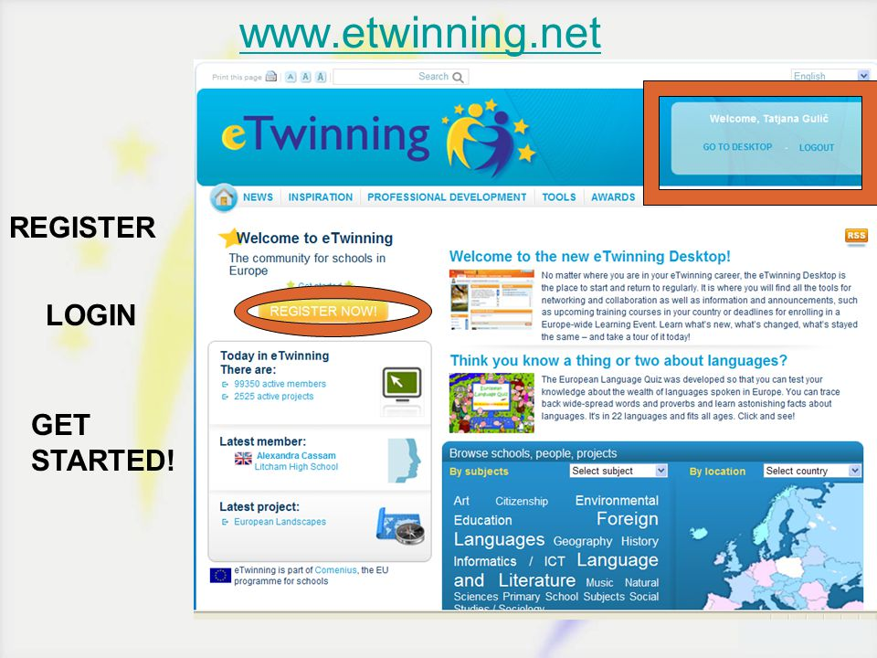 www.etwinning.net REGISTER LOGIN GET STARTED!