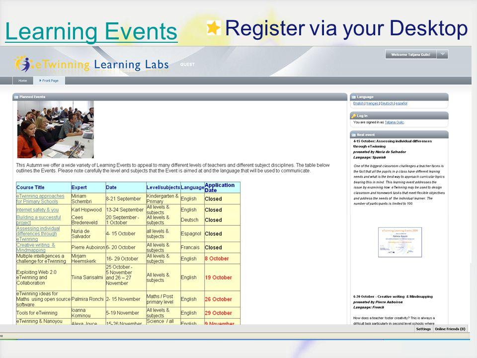 Learning Events Register via your Desktop