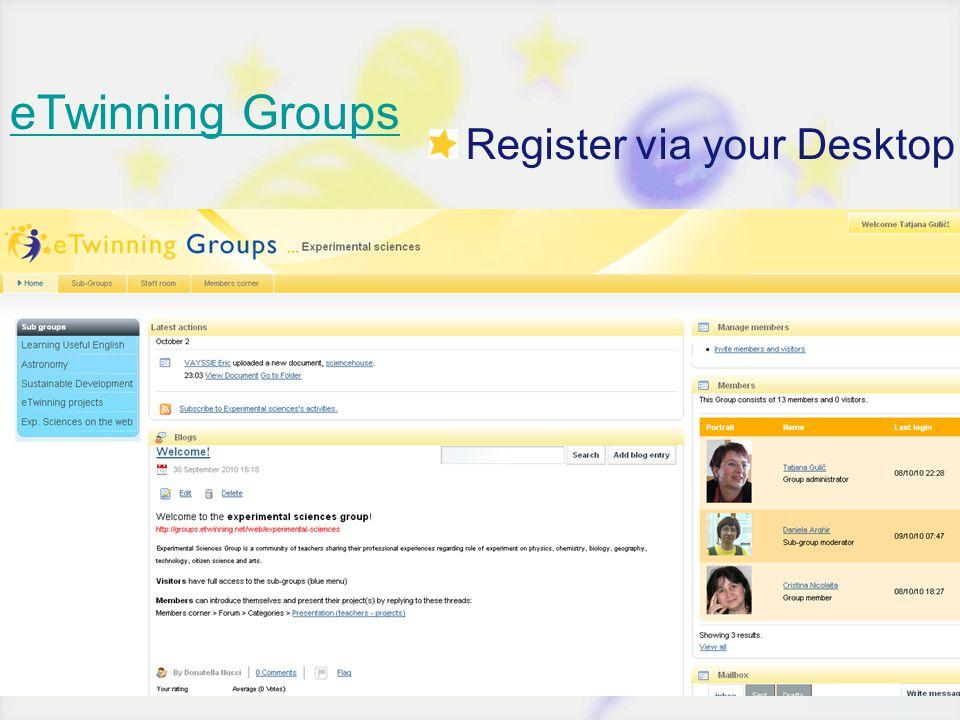 eTwinning Groups Register via your Desktop