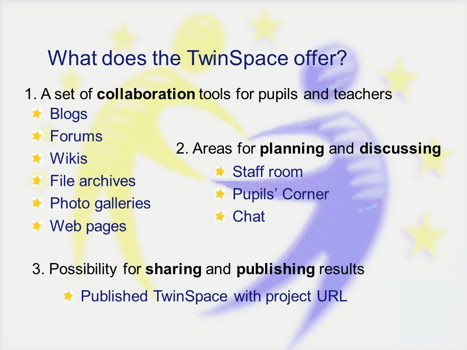1. A set of collaboration tools for pupils and teachers What does the TwinSpace offer? Blogs Forums Wikis File archives Photo galleries Web pages 2. A