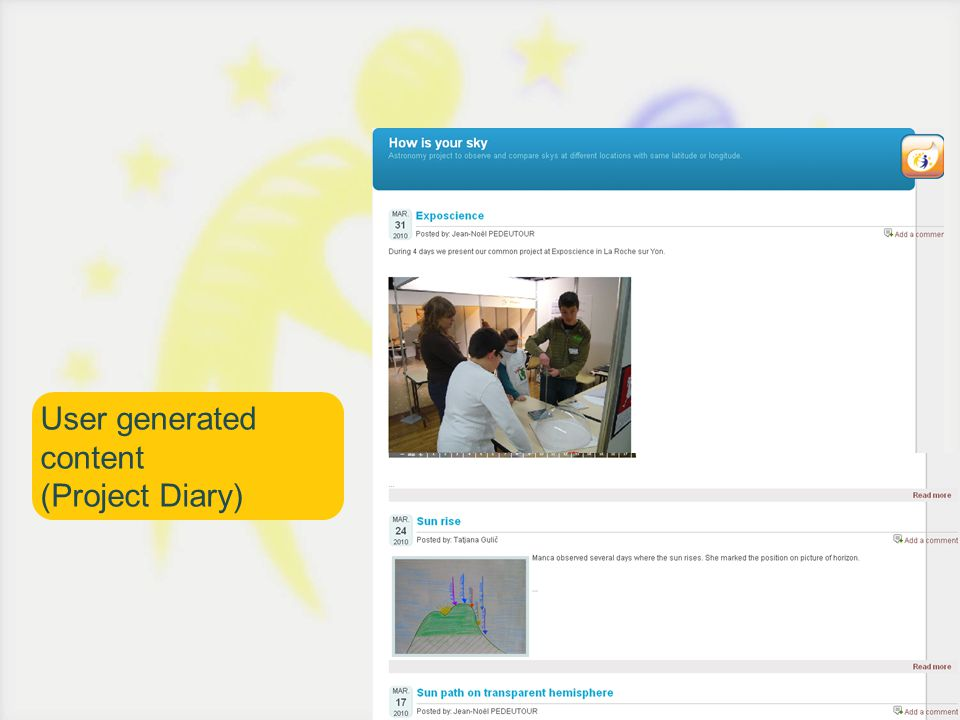 User generated content (Project Diary)