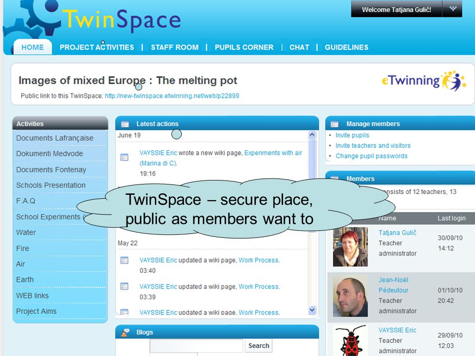 TwinSpace – secure place, public as members want to