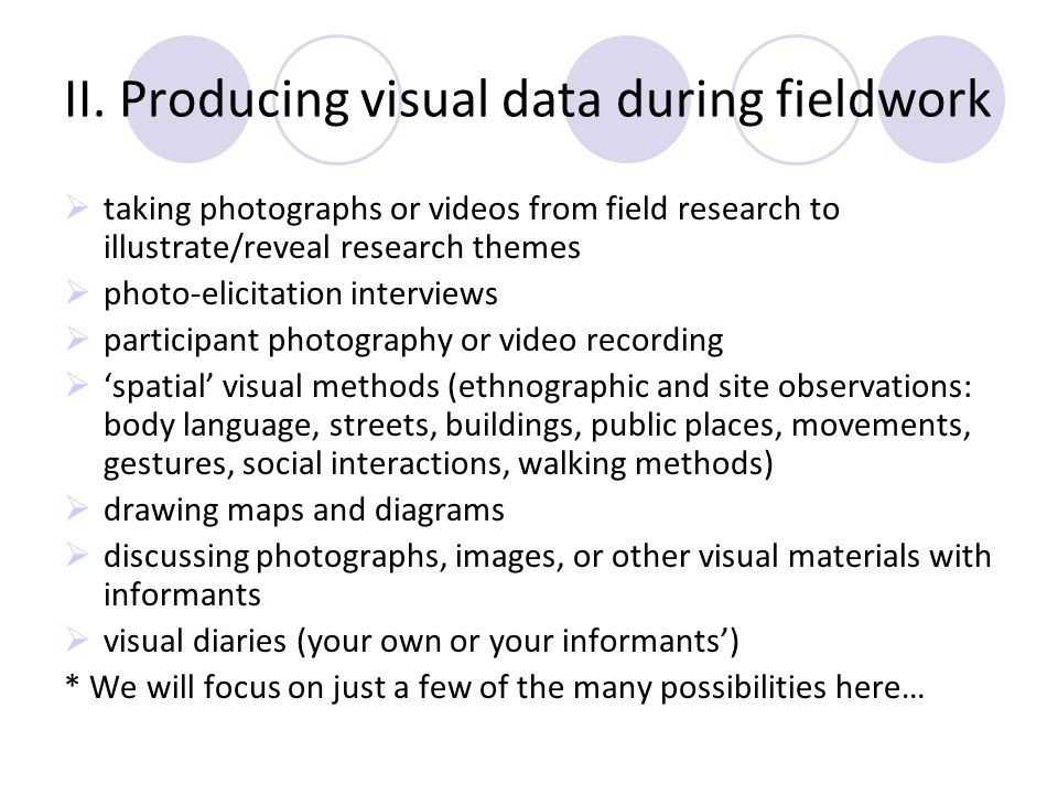 II. Producing visual data during fieldwork taking photographs or videos from field research to illustrate/reveal research themes photo-elicitation int
