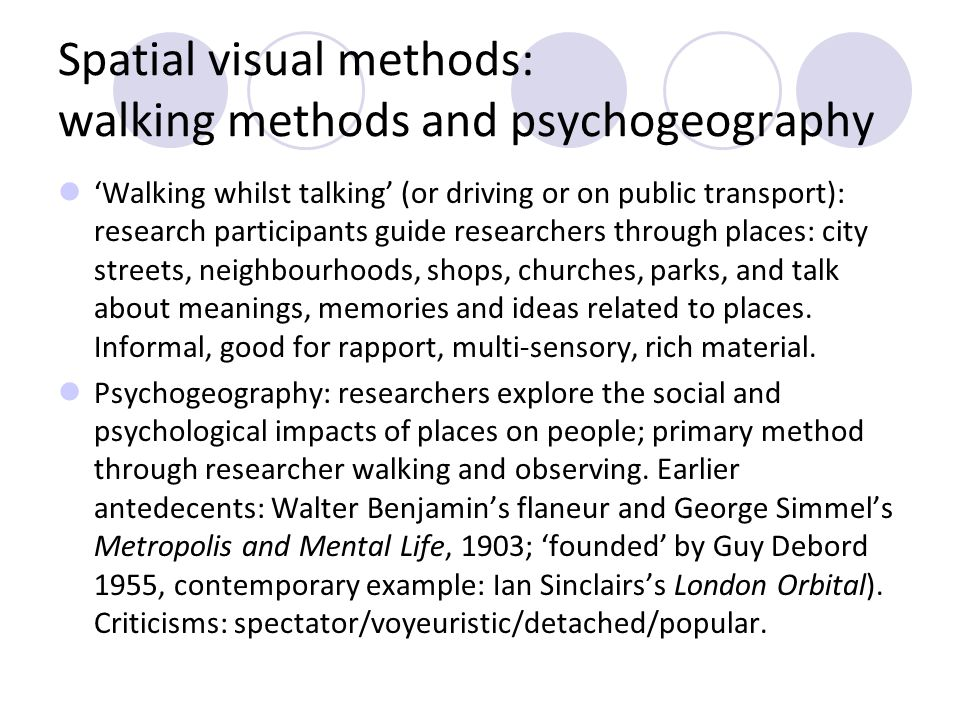 Spatial visual methods: walking methods and psychogeography Walking whilst talking (or driving or on public transport): research participants guide re