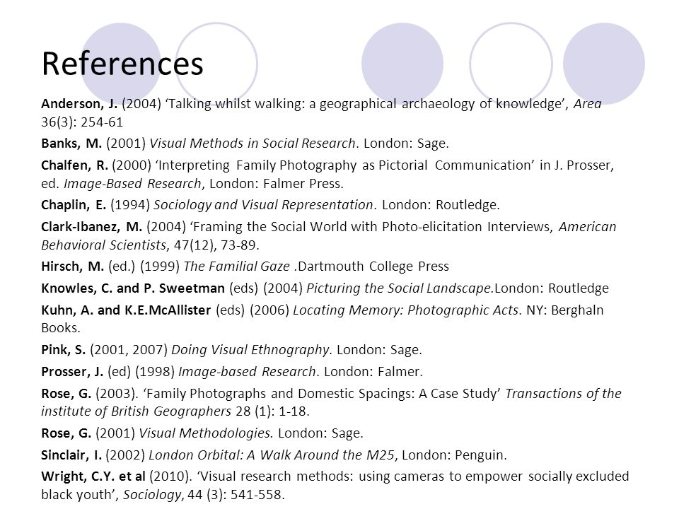 References Anderson, J. (2004) Talking whilst walking: a geographical archaeology of knowledge, Area 36(3): 254-61 Banks, M. (2001) Visual Methods in
