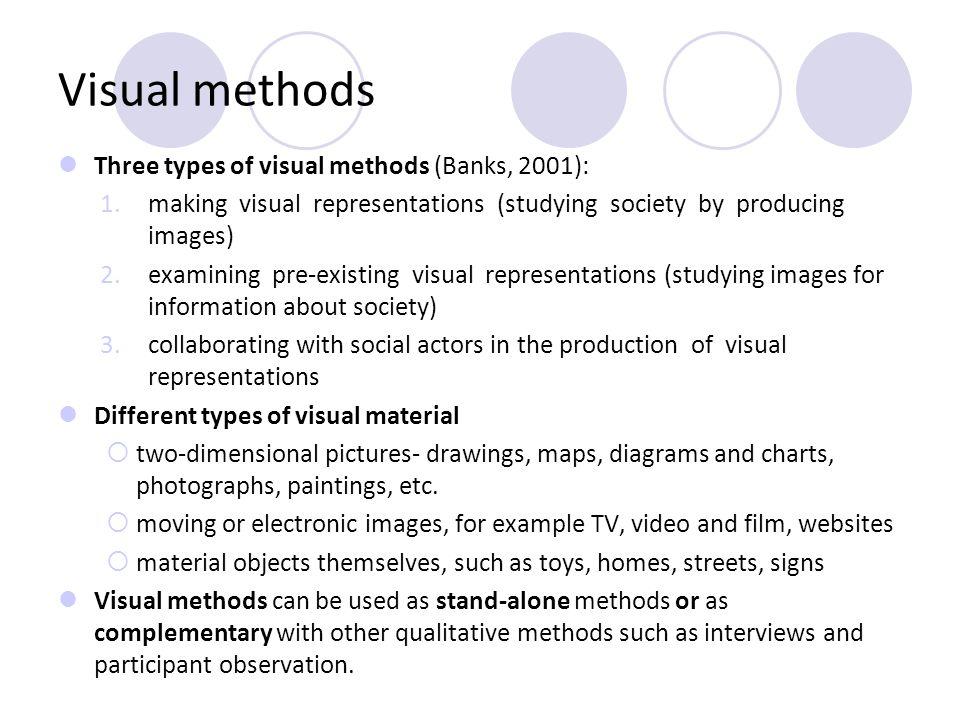 Visual methods Three types of visual methods (Banks, 2001): 1.making visual representations (studying society by producing images) 2.examining pre-exi