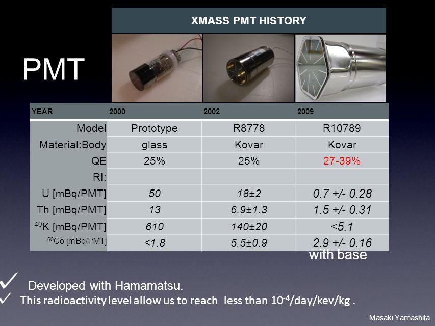 Masaki Yamashita YEAR200020022009 ModelPrototypeR8778R10789 Material:BodyglassKovar QE25% 27-39% RI: U [mBq/PMT]5018±2 0.7 +/- 0.28 Th [mBq/PMT]136.9±