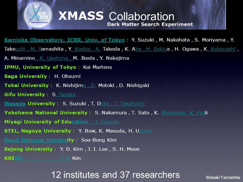 Masaki Yamashita Collaboration 12 institutes and 37 researchers Kamioka Observatory, ICRR, Univ. of Tokyo Kamioka Observatory, ICRR, Univ. of Tokyo Y.