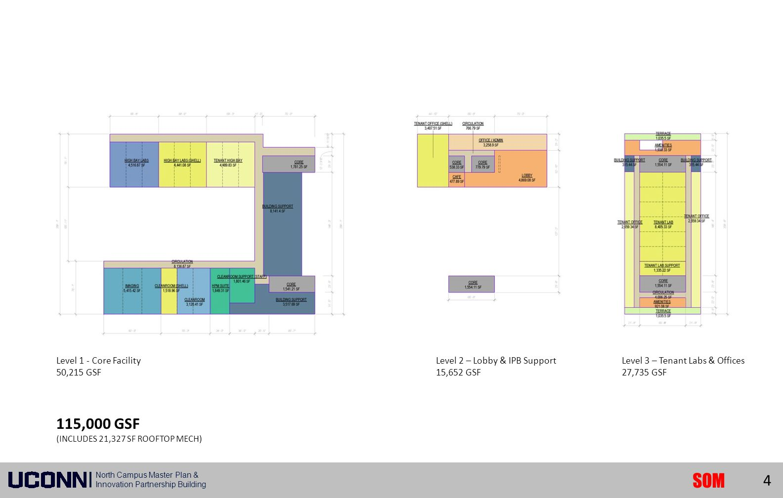 North Campus Master Plan & Innovation Partnership Building SOM Phase I Building Site Plan Level 1 - Core Facility 50,215 GSF Level 2 – Lobby & IPB Sup