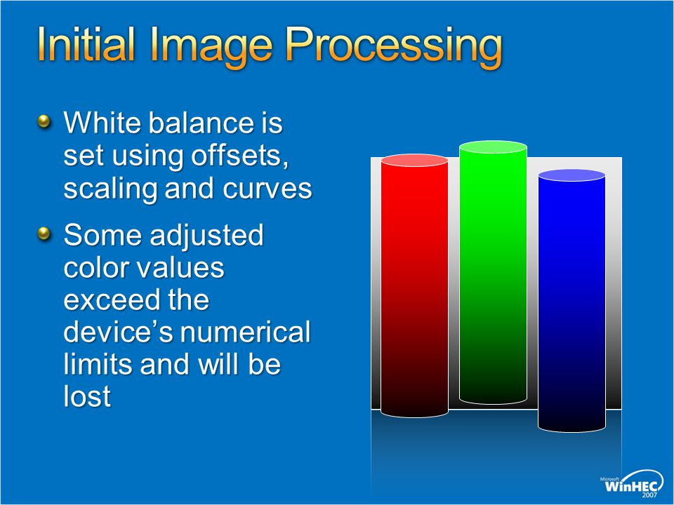 White balance is set using offsets, scaling and curves Some adjusted color values exceed the devices numerical limits and will be lost