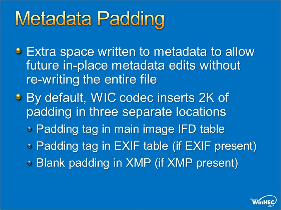 Extra space written to metadata to allow future in-place metadata edits without re-writing the entire file By default, WIC codec inserts 2K of padding