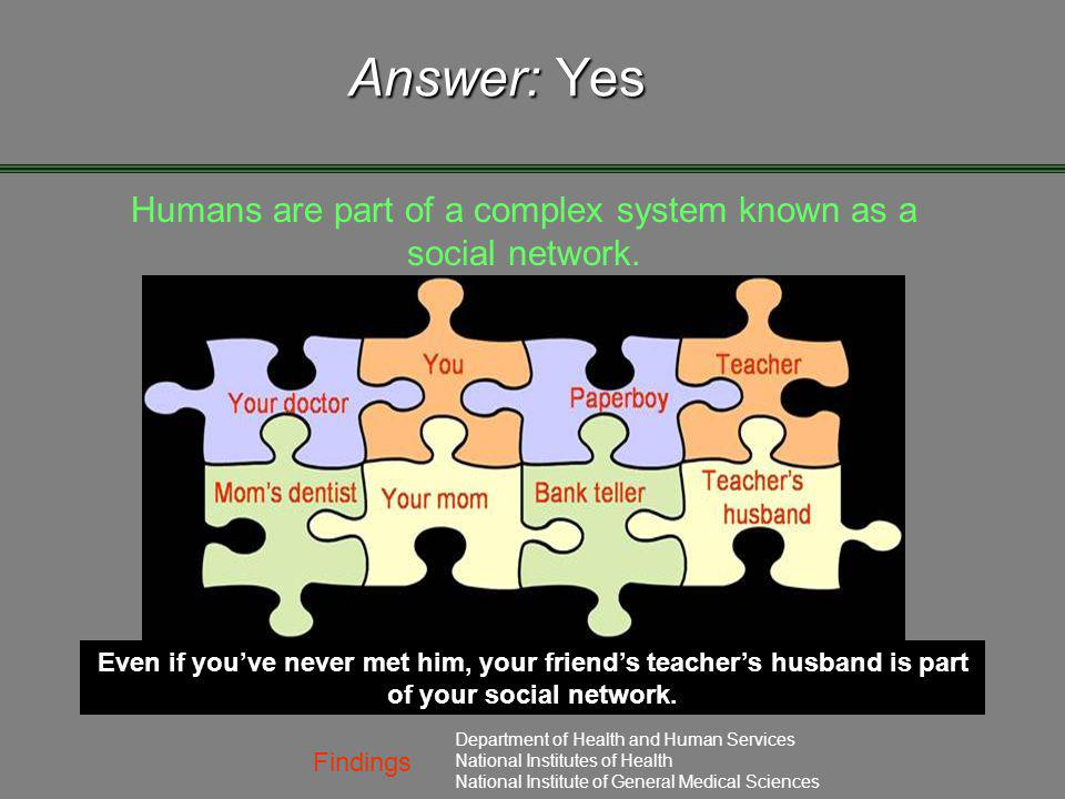 Findings Department of Health and Human Services National Institutes of Health National Institute of General Medical Sciences Answer: Yes Humans are p