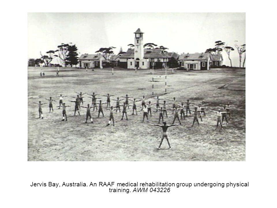 Jervis Bay, Australia. An RAAF medical rehabilitation group undergoing physical training. AWM 043226