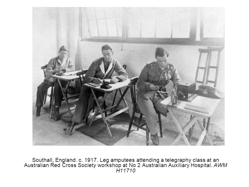 Southall, England. c. 1917. Leg amputees attending a telegraphy class at an Australian Red Cross Society workshop at No 2 Australian Auxiliary Hospita