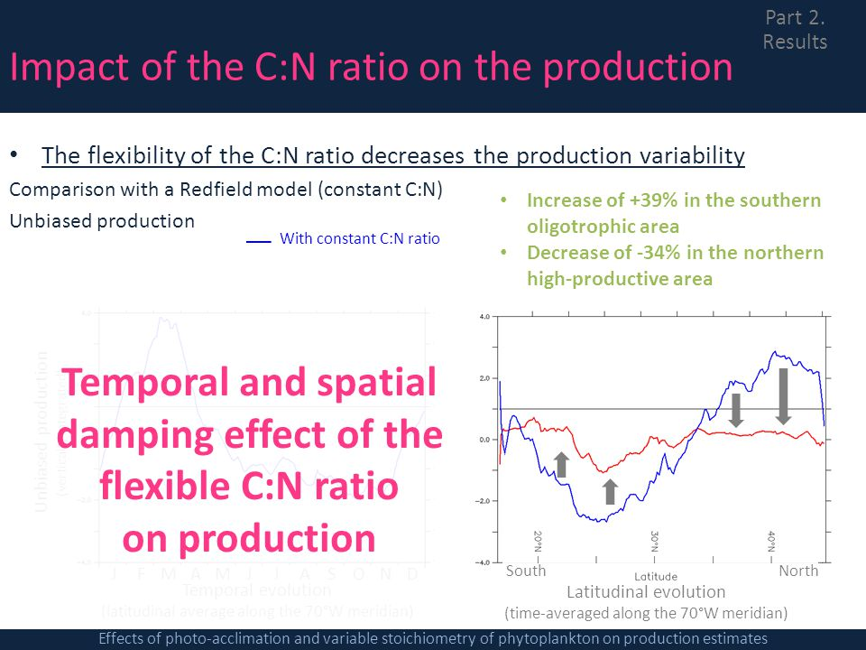 Latitudinal evolution (time-averaged along the 70°W meridian) SouthNorth Impact of the C:N ratio on the production The flexibility of the C:N ratio de