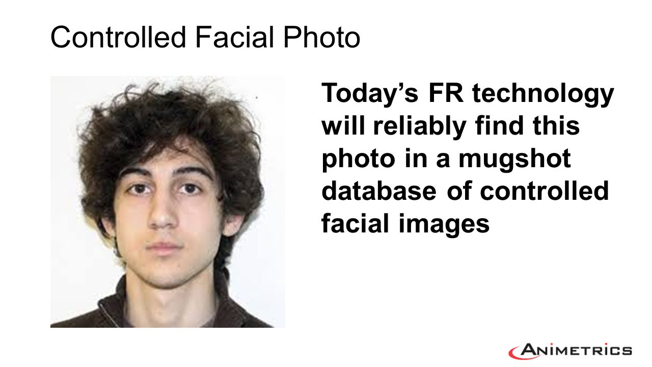Problematic variables: 1.Resolution (not enough pixels) 2.Facial Pose – angulated 3.Illumination 4.Occluded facial areas What happens: Facial Feature Points (eyes, etc.) not found or distorted Algorithm Measurements in Error Not Enough Data to Process Confounding Variables in Uncontrolled Facial Photos