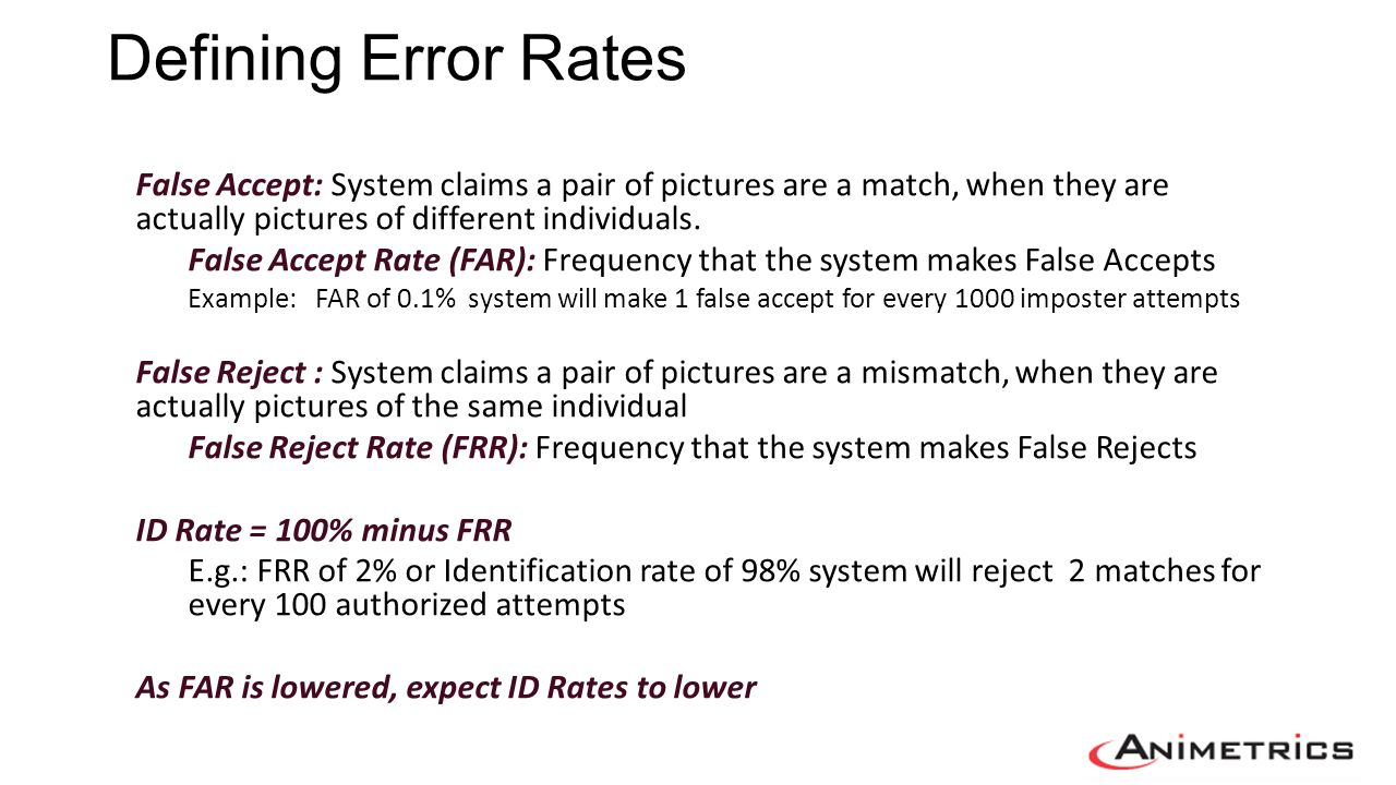 Error Rates in Practice Operation implications Control ID Rate by selecting the FAR operating point Desire FAR to be as low as possible…..