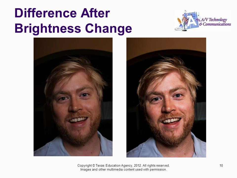 Difference After Brightness Change 10Copyright © Texas Education Agency, 2012. All rights reserved. Images and other multimedia content used with perm