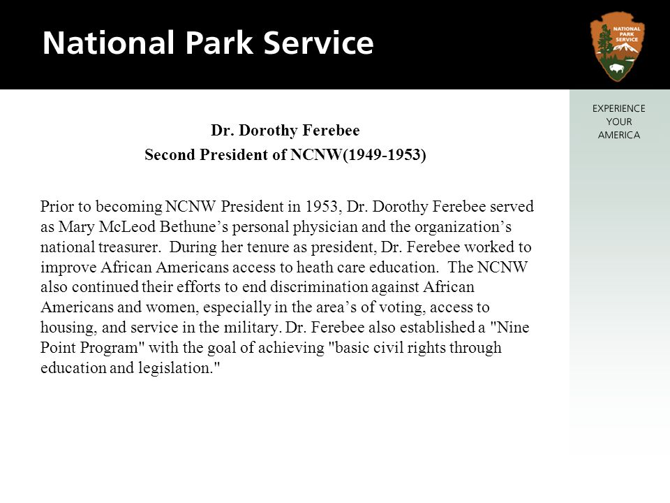 Prior to becoming NCNW President in 1953, Dr.