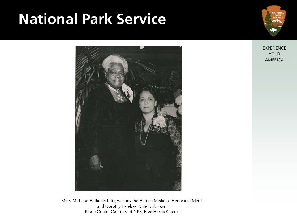 Mary McLeod Bethune (left), wearing the Haitian Medal of Honor and Merit, and Dorothy Ferebee, Date Unknown.