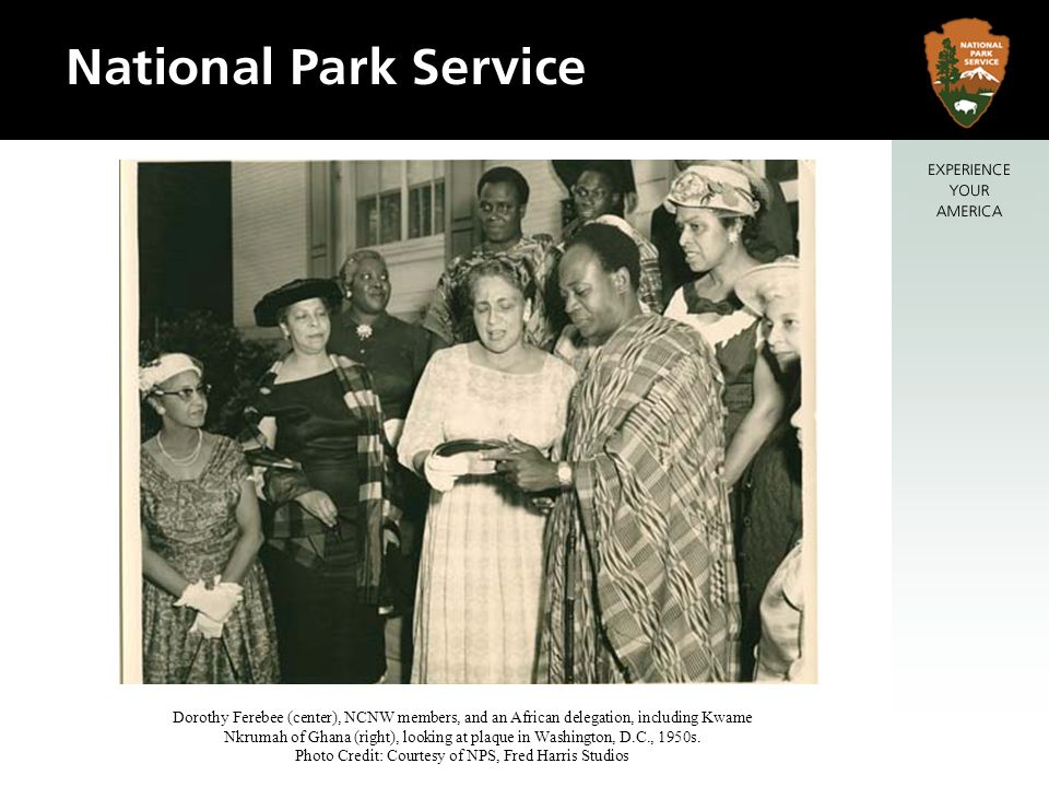 Dorothy Ferebee (center), NCNW members, and an African delegation, including Kwame Nkrumah of Ghana (right), looking at plaque in Washington, D.C., 1950s.