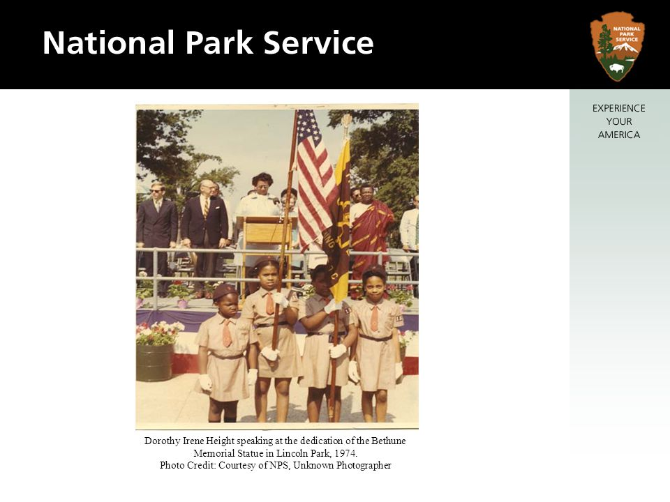 Dorothy Irene Height speaking at the dedication of the Bethune Memorial Statue in Lincoln Park, 1974.