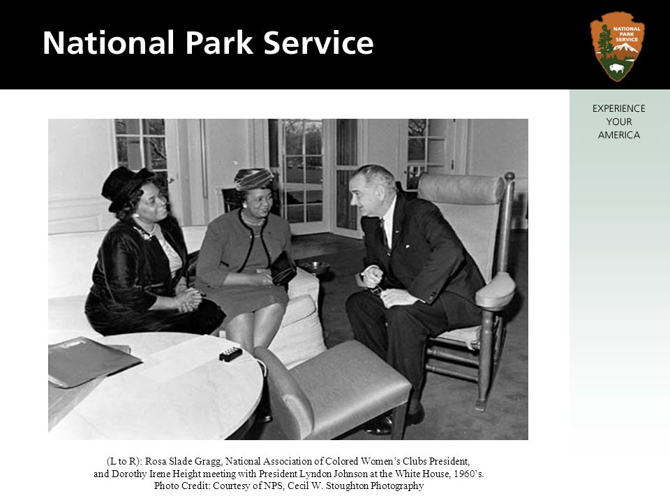 (L to R): Rosa Slade Gragg, National Association of Colored Womens Clubs President, and Dorothy Irene Height meeting with President Lyndon Johnson at the White House, 1960s.