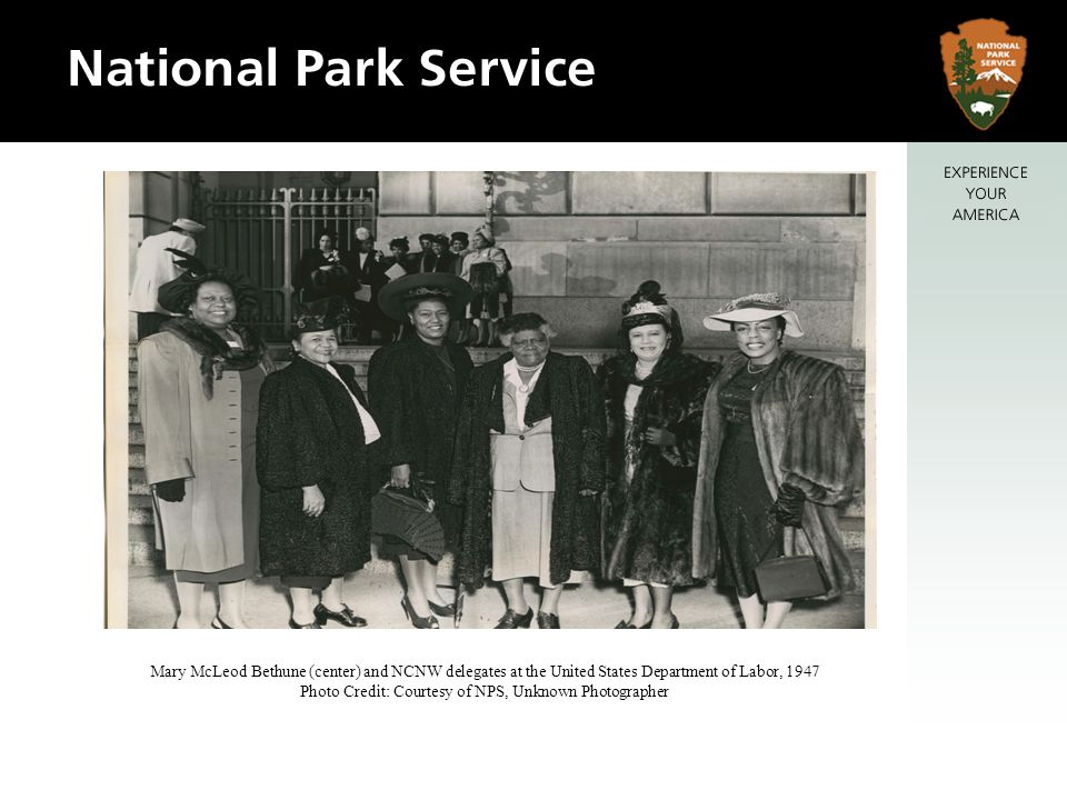 Mary McLeod Bethune (center) and NCNW delegates at the United States Department of Labor, 1947 Photo Credit: Courtesy of NPS, Unknown Photographer