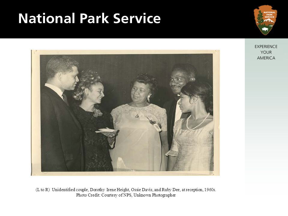 (L to R) Unidentified couple, Dorothy Irene Height, Ossie Davis, and Ruby Dee, at reception, 1960s.