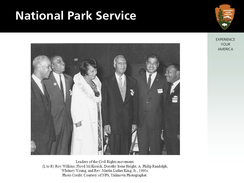 Leaders of the Civil Rights movement. (L to R) Roy Wilkins, Floyd McKissick, Dorothy Irene Height, A. Philip Randolph, Whitney Young, and Rev. Martin