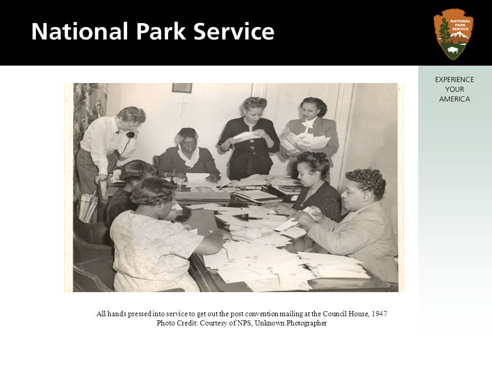 All hands pressed into service to get out the post convention mailing at the Council House, 1947 Photo Credit: Courtesy of NPS, Unknown Photographer