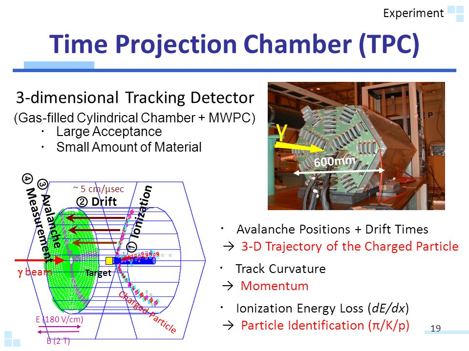 Time Projection Chamber (TPC) 600mm E (180 V/cm) B (2 T) beam Charged Particle Target Drift ~ 5 cm/μsec γ Ionization Avalanche Measurement 3-dimensional Tracking Detector Track Curvature Momentum Ionization Energy Loss (dE/dx) Particle Identification (π/K/p) Avalanche Positions + Drift Times 3-D Trajectory of the Charged Particle (Gas-filled Cylindrical Chamber + MWPC) Large Acceptance Small Amount of Material 19 Experiment