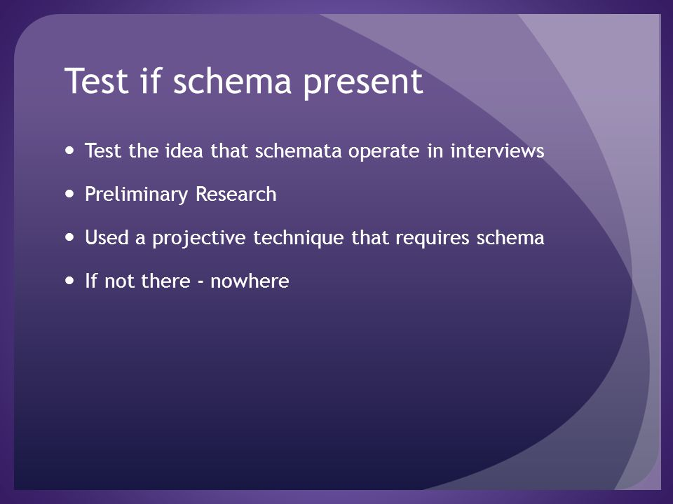 Test if schema present Test the idea that schemata operate in interviews Preliminary Research Used a projective technique that requires schema If not
