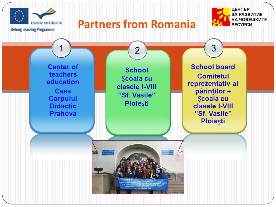 Partners from Romania 123 Center of teachers education Casa Corpului Didactic Prahova School coala cu clasele I-VIII Sf. Vasile Ploieti School board C