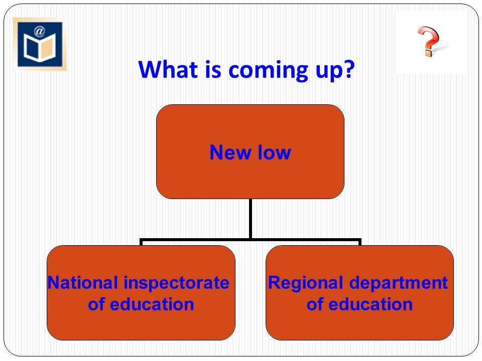 What is coming up ? New low National inspectorate of education Regional department of education