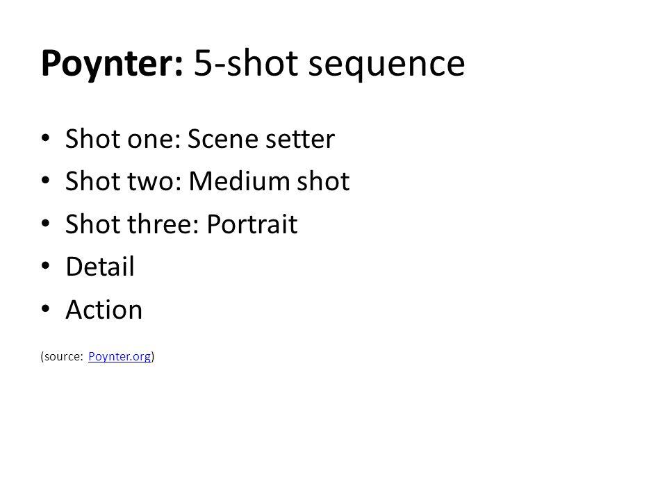 Poynter: 5-shot sequence Shot one: Scene setter Shot two: Medium shot Shot three: Portrait Detail Action (source: Poynter.org)Poynter.org